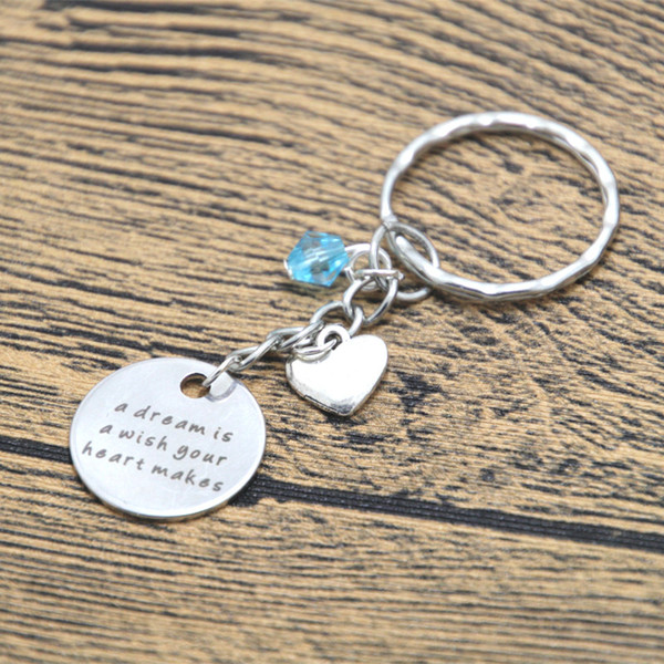 Cinderella Inspired keyring A Dream is a Wish Your Heart Makes Silver tone