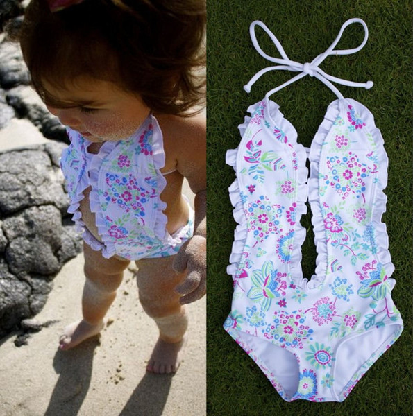 top popular 2017 Fashion Girls Baby Clothing Bikini White Floral Split One-pieces Swimsuit Bathing Suit Swimming Clothes 1-6T 2021