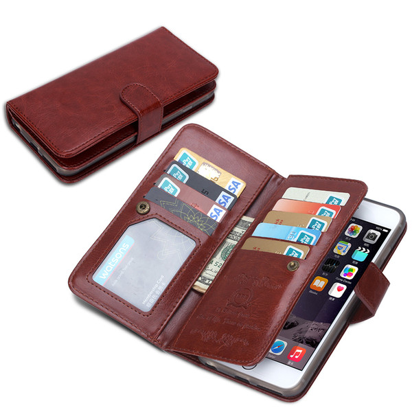 2in1 Magnetic Detachable 9 Card Wallet Leather Case for iphone 5 5s se 6 6s iphone 7 Galaxy s4 s5 s6 s6 edge s7 20pcs/lot