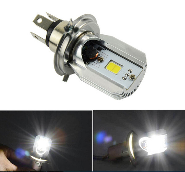 1 x H4 18W 12V motorcycle LED headlight 6000K Moto Bulbs Hi/Lo Beam Front Lights COB Moped Scooter Motobike lamp Xenon White