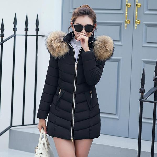 2018 Casual Kadın Kış Aşağı Ceket Ince Uzun Pamuk-yastıklı Faux Kürk Yaka Kapşonlu Coat Parka Lady Artı Boyutu Ceket Giyim