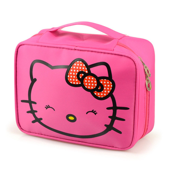 Wholesale- Girl's Hello Kitty Cosmetic Bag Cute Travel Makeup Organizer Case Beautician Beauty Suitcase Accessories Supplies Products
