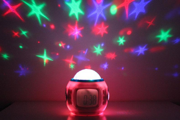 New Year Gift Creative Star Projection Clock children's music Colorful electronic mute small alarm clock bedside Zhong Xuesheng