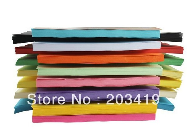 Wholesale-New 100pcs/pack A4 80g colorful paper for printing typing copy for all laser, fax, inkjet machines 11color option DIY CN post