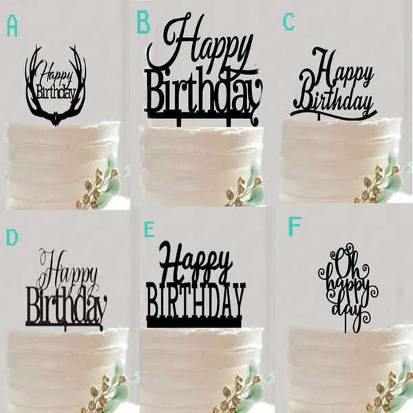 High Quality Acrylic Cupcake Cake Topper Black Happy Birthday Cake Flags Festival Birthday Wedding Event Party Baking Decoration Supplies