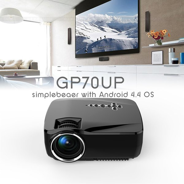 Wholesale-GP70UP Android Mini LED Projector with Google Play Updated by GP70 Portable Proyector 1G RAM 8G ROM Bluetooth Wifi TV Beamer