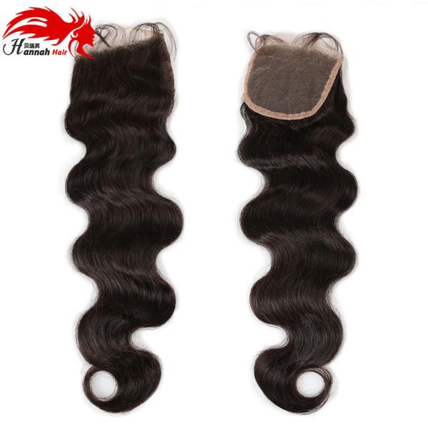Hannah HAIR Producto Brasileño Body Wave Hair Lace Closure 4 * 4 Pelo Brasileño 100% Remy Wave Body Human Free Shipping