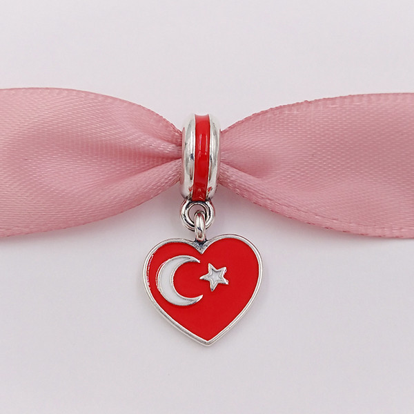 925 Gümüş Boncuk Türkiye Kalp Bayrak Kırmızı Beyaz Emaye Avrupa Pandora Stil Bilezikler Kolye takı yapımı için 791552ENMX Uyar