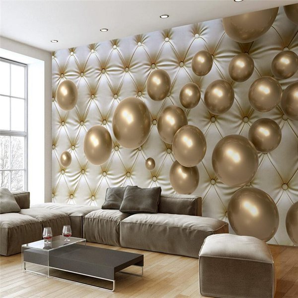 Venta al por mayor- Mural para sala de estar Golden Ball Soft Pack Murales de pared Papel tapiz Hotel Badroom Fondo moderno Pintura grande
