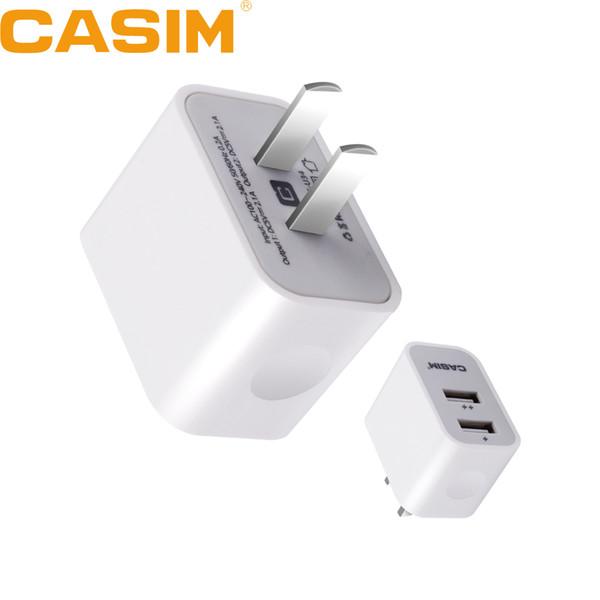 Casim S-U34 Original high quality 5V 2.1A Plug Travel Universal US Home Wall Charger 2 USB Ports Smart Quick Charge