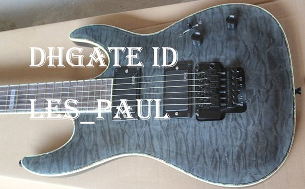 Custom LTD MH 1000 Deluxe Trans Black Flame Maple Electric Guitar EMG Pickups Flyod Rose Tremolo Bridge Abalone & White Pearl Binding