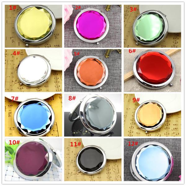 12 colores cosméticos espejos compactos de cristal de aumento de múltiples colores maquillaje herramientas espejo espejo de la boda regalo X038