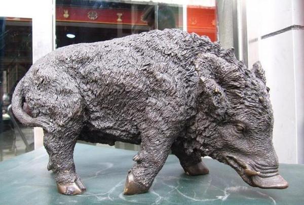 Chinese Beautifull Pure Bronze Refined animal jabalí Cerdo Art sculptue statue