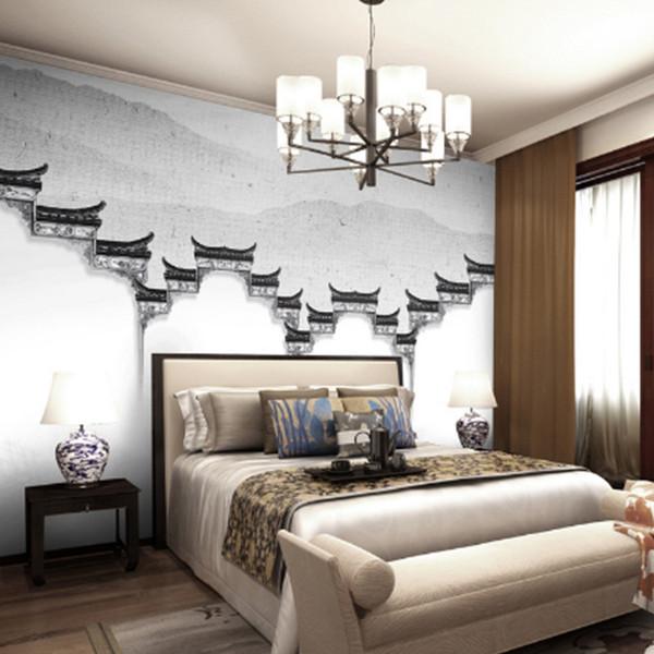 Özel Fotoğraf Duvar Kağıdı Modern Basit Klasik tapınak boyama Beyaz TV Arka Plan Duvar dokunmamış Kumaş Duvar Kağıdı Yatak Odası Için