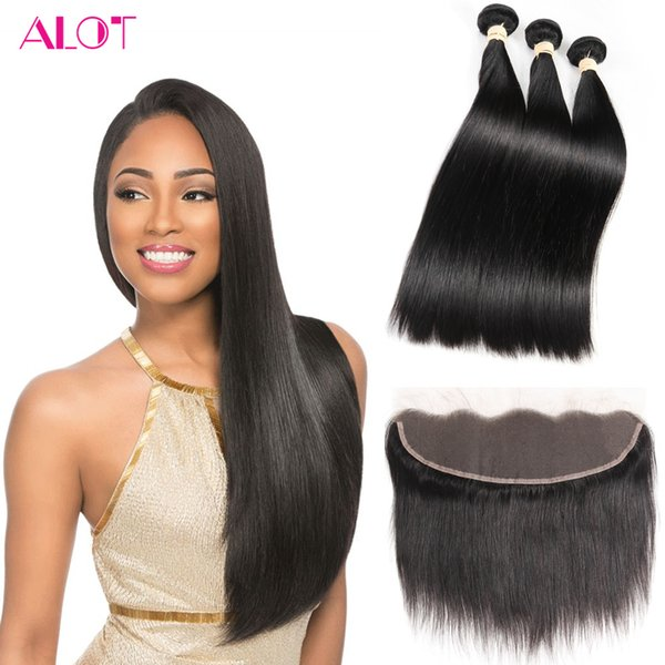 Brazilian Human Hair Bundles with Frontal Natural Color Straight Hair Weaves 13x4 Lace Frontal and Bundles 3Pcs Cheap Hair Extensions