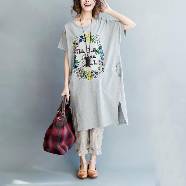 Plus Size Women T-Shirt Summer Split Cotton Pattern Print Long Tshirt Dresses Tee Fashion Female Elegant Loose Tops With Pocket