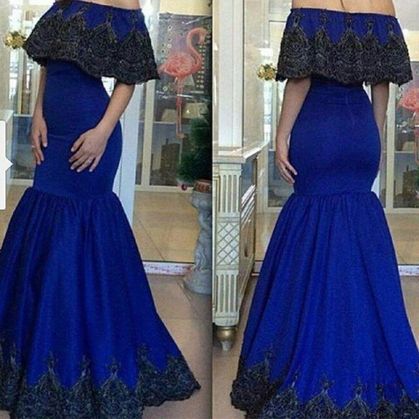 Royal Blue With Black Appliques Lace Mermaid Prom Dresses Designer Boat Neck Short Sleeve Evening Party Dress Cheap Prom Gown