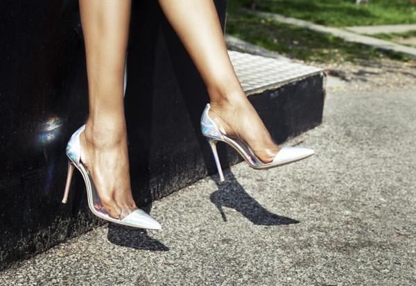 PVC şeffaf Sivri Burun seksi bayan pompaları ayakkabı ücretsiz kargo kap ayak kayma-on kadınlar yüksek topuklu marka parti elbise sandalet ...