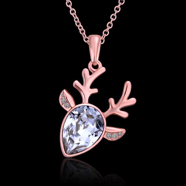 2017 Christmas Pendant Necklace Christmas Deer Horn Necklace with Big Diamond Zircon Pendant Necklace Best Xmas Gift for girls women