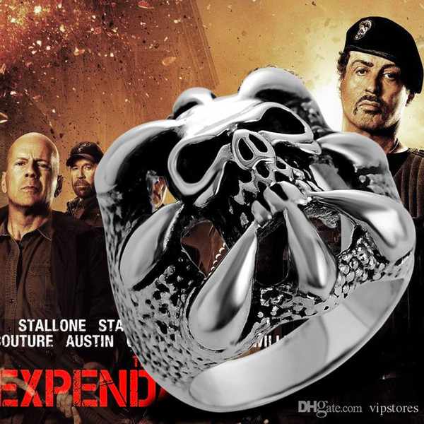 The Expendables Skull Ring Punk Biker Style Gothic Skeleton Rings for Men 316L Stainless Steel Stallone's Lucky Ring Jewelry for EXP Fa