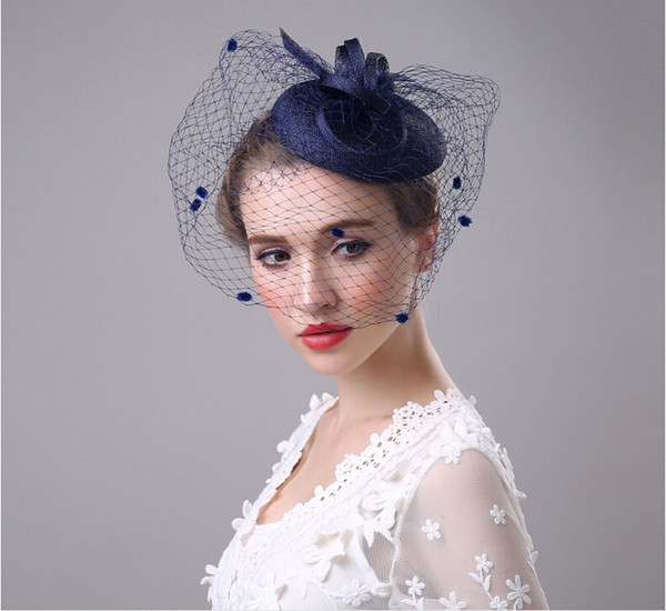 best selling Elegant Wedding Party Bridal Headdress Church Hats 2019 Cheap Handmade Custom Navy Blue Hat ,Kentucky Derby Hats