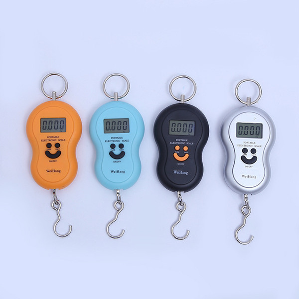 Hot gourd shaped portable luggage, multi-color smile, backlit electronic scales, express parcel weighing 50 kg