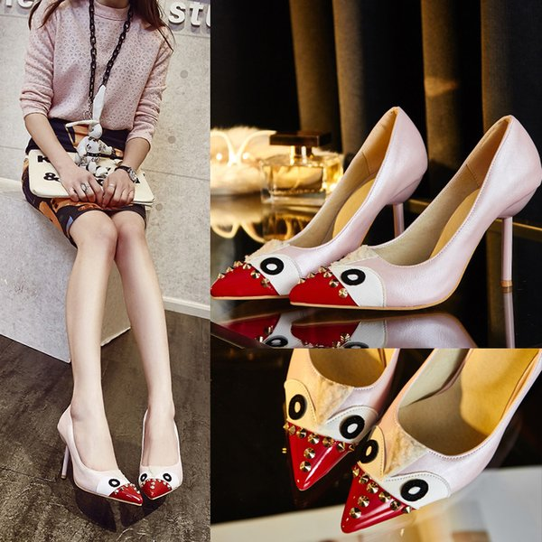 European multi colored Thin heels Shoes Pointed Toe Women Pumps Rivet Studded For Wedding Party Dress Stiletto Woman Size 35-43