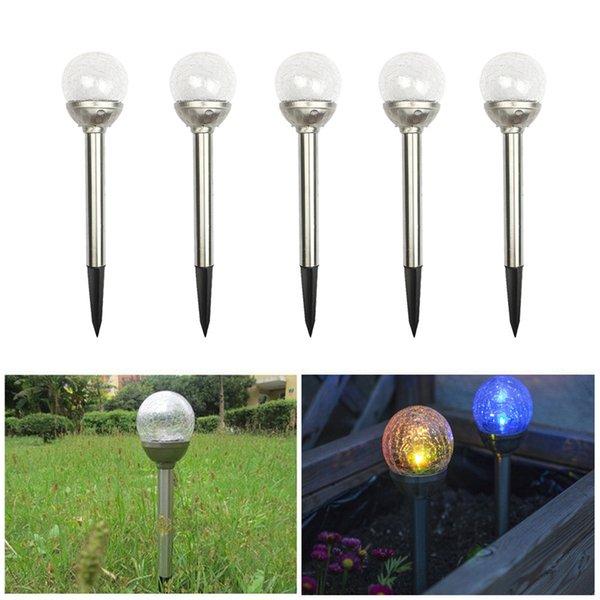 LED RGB Lampes Solaires Jardin Pelouse Lumière Stake Path Craquelure De Verre Bille De Fissure Lumière De Jardin En Acier Inoxydable Lumières Led Lampe Extérieure Lumière Solaire