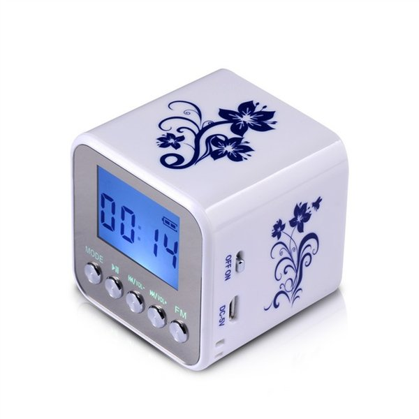 Venta al por mayor-2015 Nueva Nizhi TT032 Mini radio digital portátil radio FM portátil soporte para tarjeta SD altavoces USB MP3 con reloj