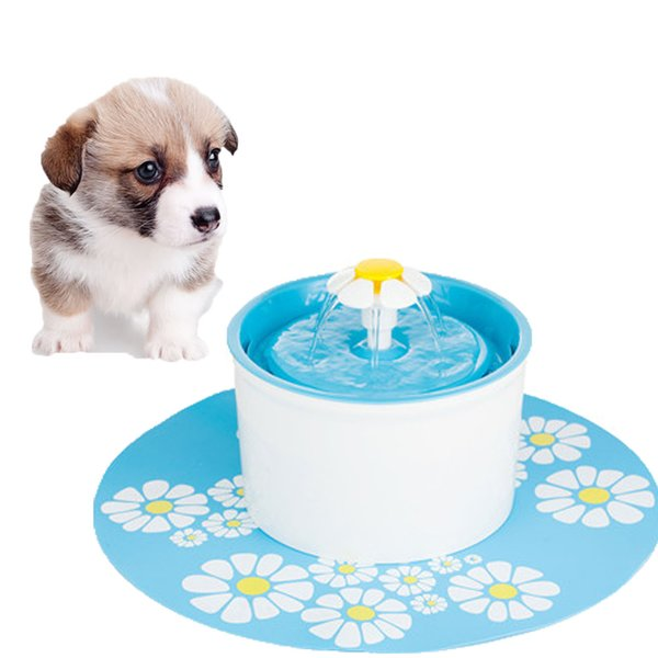 Wholesale- New Blue Adjustable Flower Style Automatic Electric 1.6 L Pet Water Fountain Dog/Cat Drinking Bowl With Silicone Pad