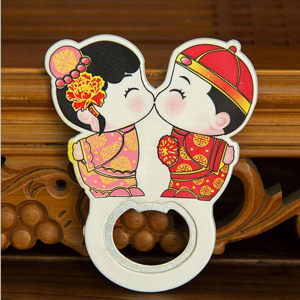 500PCS Cartoon Chinese Bride and Groom Couple Bottle Opener Fridge Magnet Wedding Gift and Favor For Guest Free Shipping
