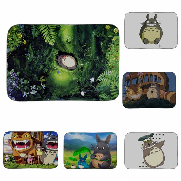 Hayao Miyazaki Totoro in Wald Kunstmatte Badezimmer Küche Boden Teppich dekorative Wohnzimmer Auto Teppiche Eingang Home Decor 40x60cm