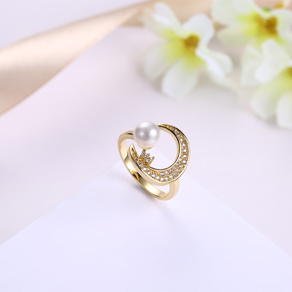 Luxury 18k Solid Yellow Gold Moon Shape Ring Lady Crystal Pearl Ring Bride Wedding Ring Jewelry Rings For Women Free Shipping