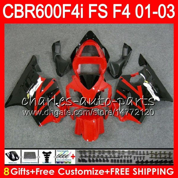 best selling 8Gifts 23Colors For HONDA CBR 600 F4i 01-03 CBR600FS FS 28HM17 CBR600 F4i 2001 2002 2003 CBR 600F4i CBR600F4i 01 02 03 Fairing Hot Red black