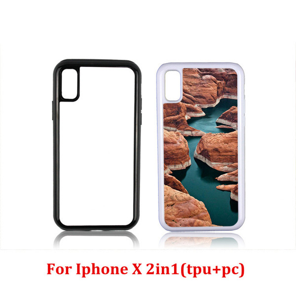 best selling 2D 2in1 TPU+PC Sublimation Heat Press Phone Cases With Metal Aluminium Plates For Iphone X 5 5C 6 6+ 7 7+ 8 8+