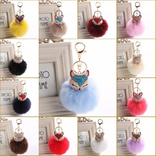 Delicate Gift Rhinestone Cute Fox Design Genuine Rabbit Fur Ball Plush Keychains For Car Key Ring Bag Pendant Car Keychain C150Q