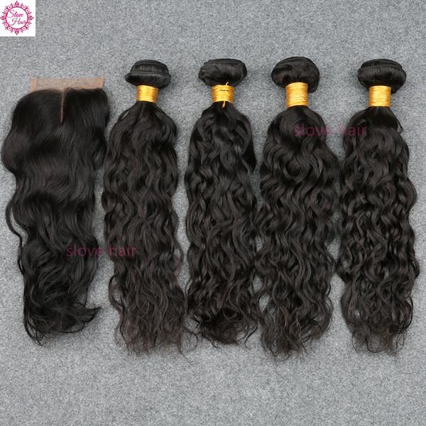 5PCS / lot Malaysian Water Wave 4 paquetes con cierre 8A Pelo virginal de Malasia Extensiones de cabello humano rizado mojado y ondulado