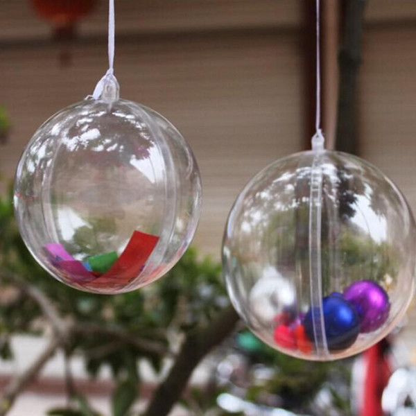 Free Shipping 7cm Dia Clear Plastic Christmas Ball Wedding Candy Box Xmas Hanging Ball Ornament For Party Supplies