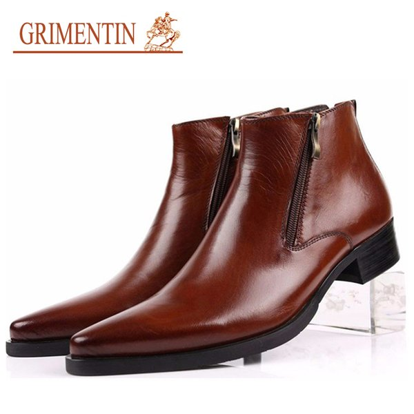 GRIMENTIN Hot sale brand mens boots genuine leather pointed toe business formal black brown men ankle boots fashion Large size male shoes