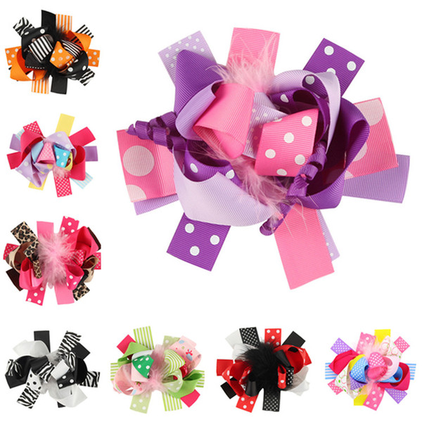 Fermagli per capelli per neonato Fiocchetti per capelli Boutique Kids Coloratissimi Bowknot con fermaglio per bambini Barrette per capelli Accessori per capelli GB056