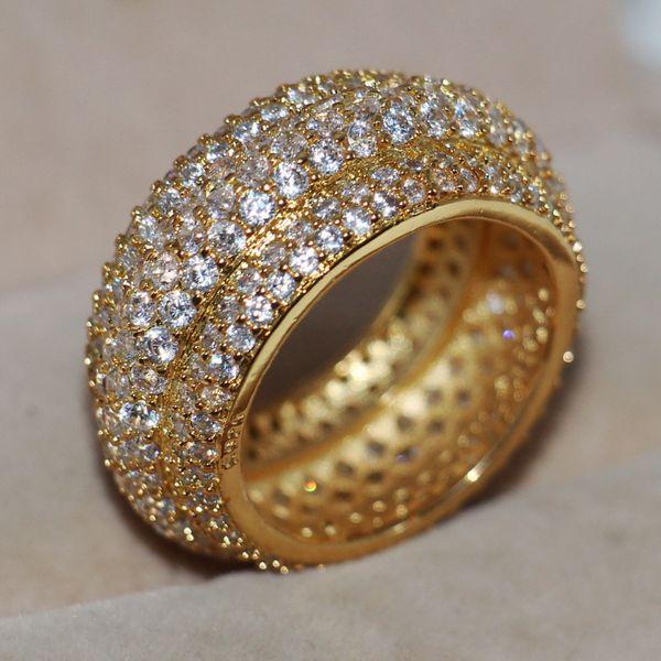 Victoria Wieck bijoux de luxe paver 320pcs minuscule blanc saphir 925 Sterling SilverYellow or remplis femmes mariage bague cadeau