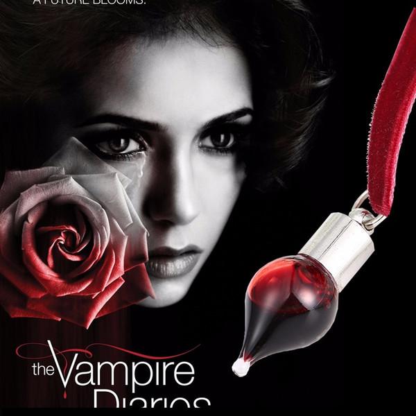 Wholesale- 2016 Vintage Vampire Diaries Pendant Black Lace Choker Necklace Bloodsucker Leech Blood Glass Bottles Necklaces Halloween Gifts