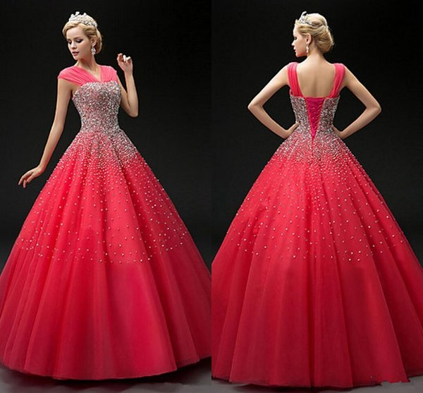 2018 Watermelon Sequins Beading Quinceanera Dresses Ball Gown Sweet 16 Dress Vestido De Festa Lace-up Long Tulle Formal Prom Gowns