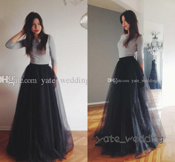 best selling Gorgous Black Tulle Long Skirts For Women High Waist Floor Length Line Mesh Cheap Classic Maxi Party Skirts