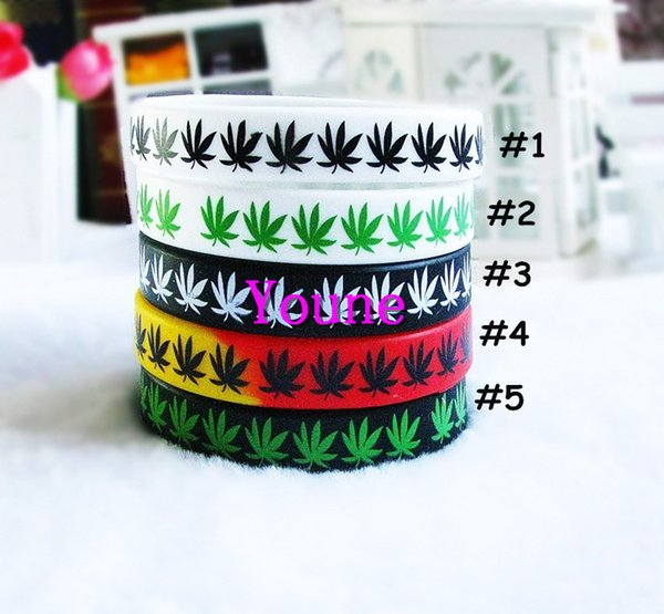 Hot Sale! 50pcs/lot Maple Leaf Jamaica Bracelet, Classic Printed Hip Hop Silicone Wristband, Promotion Gift, Silicon Wristband