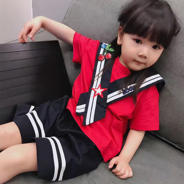 Girls Clothes Summer Children Girls Clothing Sets Short Sleeve Red Cherry T-shirt+Striped Short Pants Kids Clothes