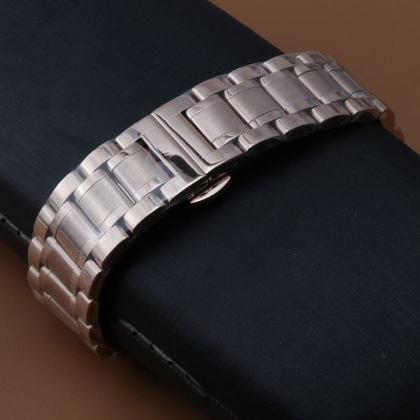 Stainless Steel Watch Band 18mm 20mm 22mm 24mm Universal Watchband Curved End Butterfly Buckle Wrist Belt Bracelet rosegold new promotion