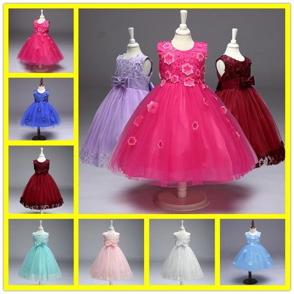 Elegant Princess Tulle Flower Girl Dresses Kids Red Ivory Dress With Big Bow For Girl Wedding Party Vestido Baby Infant Baptism