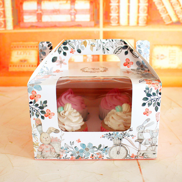 Cute muffin cake box 4 cupcake boxes pudding bottle package square box party gift packing favors