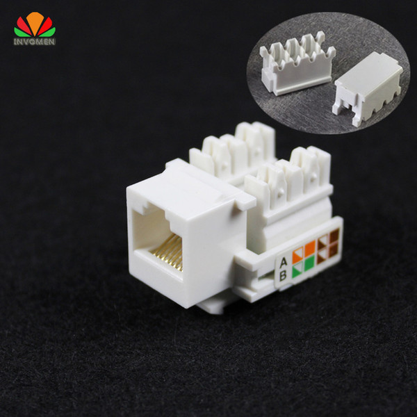 Wholesale- 10pcs CAT5E UTP network module Tool-free RJ45 connector Information socket Computer Outlet cable adapter Keystone Jack FOR AMP